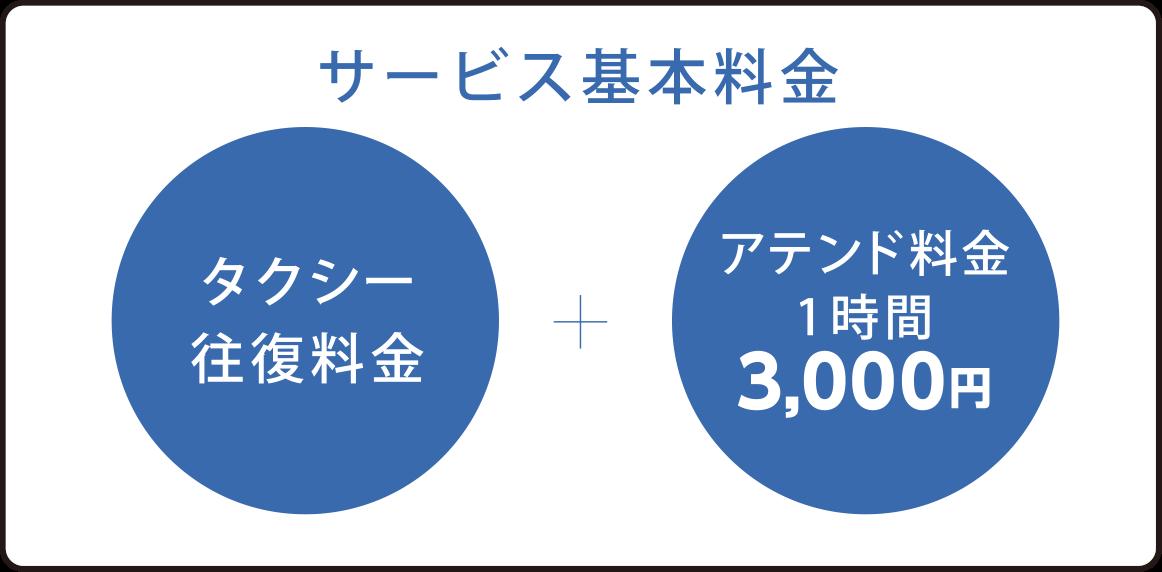 サービス基本料金 タクシー往復料金+アテンド料金1時間3,000円